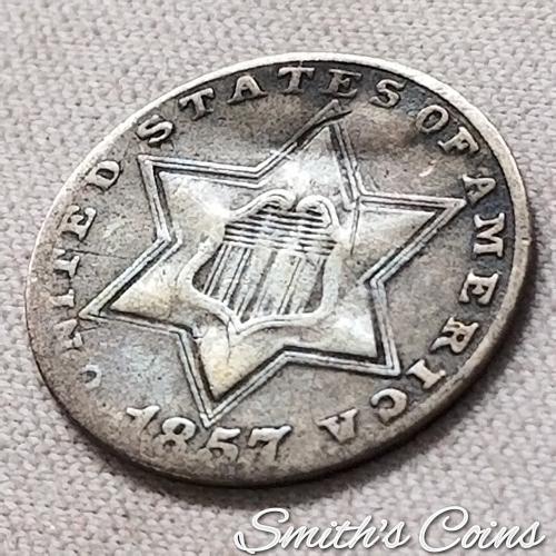 1857 ~ Silver Three Cent ~ Net VG