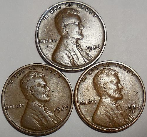 3 Lincoln Wheat Cents 1926-P 1927-P 1929-S