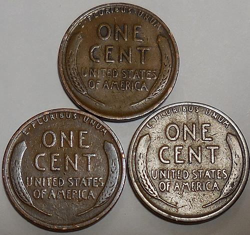 3 Lincoln Wheat Cents 1924-P 1925-P 1925-S