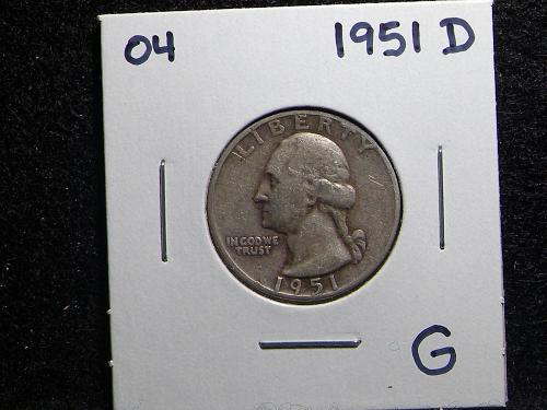 1951 D Washington Quarter