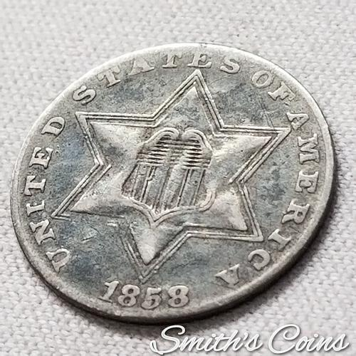 1858 ~ Silver Three Cent ~ VF