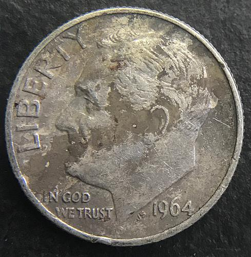 1964 D Roosevelt Dimes 90% Silver Composition (2 photo's) RD6