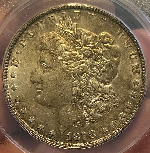1878 Morgan Dollar : 7 Tail Feathers - 90% Silver AU55 (5 photo's)