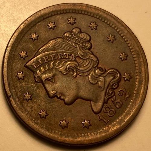 1852 Large cent braided hair