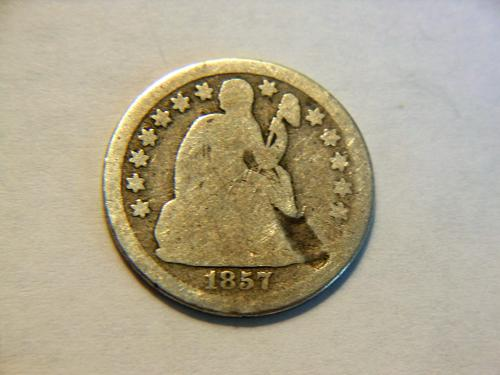 1857-P Silver Seated Liberty Dime