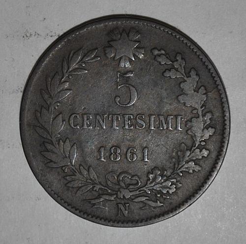 Italy 5 Centesimi 1861 N (5402)