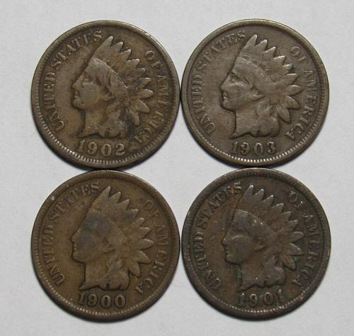 1900-1903 P Indian Head Cents in circulated condition