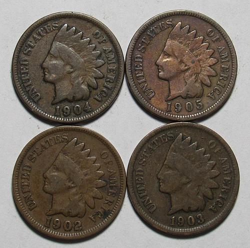 1902-1905 P Indian Head Cents in circulated condition