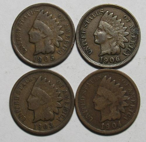 1903-1906 P Indian Head Cents in circulated condition