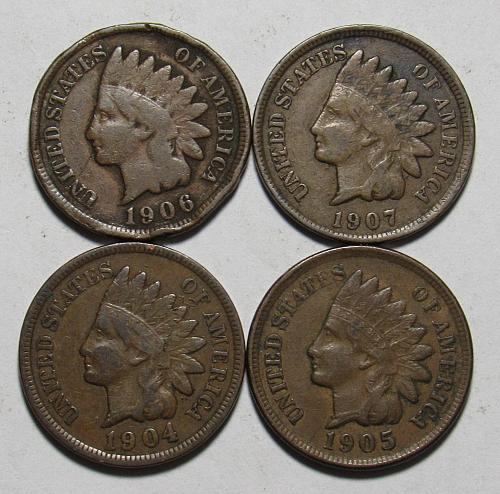 1904-1907 P Indian Head Cents in circulated condition
