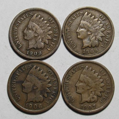 1906-1909 P Indian Head Cents in circulated condition