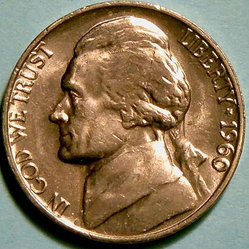 1960P Jefferson Nickels Pre-War Composition. V3P1R5