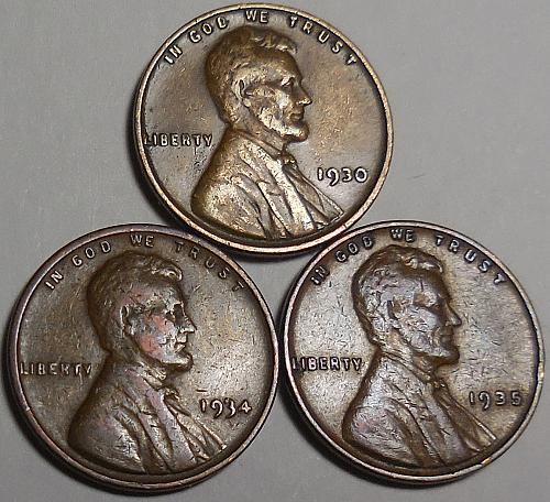 3 Lincoln Wheat Cents 1930 1934 1935