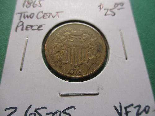 1865  VF20 Two Cent Piece.  Item: 2 65-05.