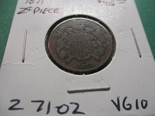 1871  VG10 Two Cent Piece.  Item: 2 71-02.