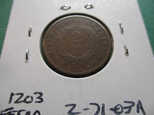 1871  VF30 Two Cent Piece.  Item: 2 71-03.