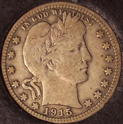 1915 Barber Silver Quarter F #0116
