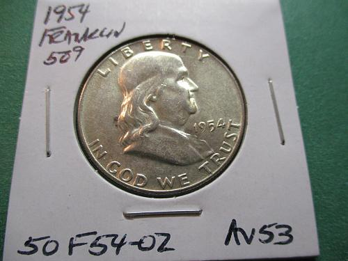 1954  AU53 Franklin Half Dollar.  Item: 50 F54-02.