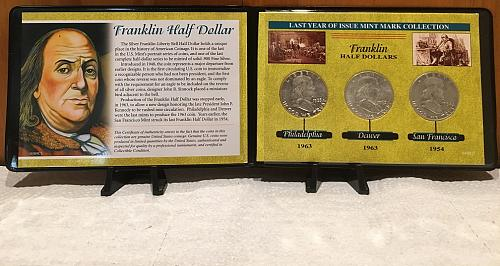 Last Year of Issue 3 Silver Franklin Half Dollars Folder Mint Mark Collection