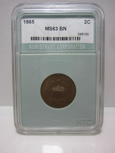 1865 P Two Cent Piece NTC MS 63 BN