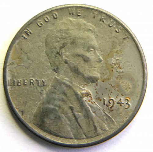 1943 Lincoln Wheat Cent : Steel Cent Steel Composite Penny