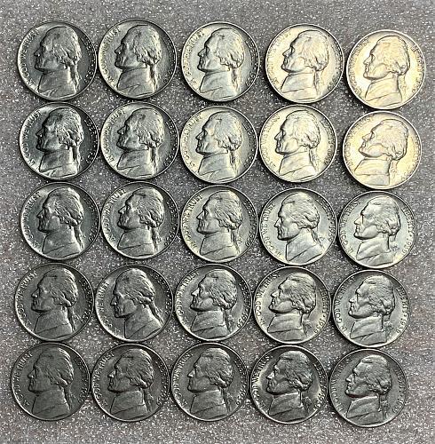 (25) Mint State 1939 Jefferson Nickels