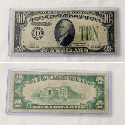1934 $10 D block light green seal Federal Reserve note