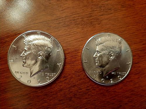2020- P and D Set of Kennedy Half Dollars From Mint Rolls