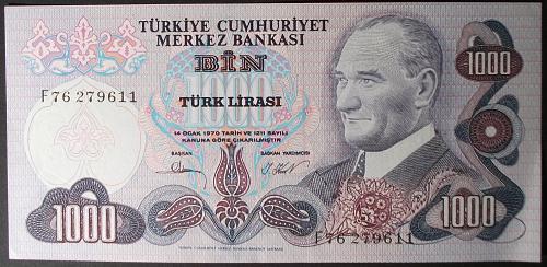 Turkey P191 1000 Lira AU+