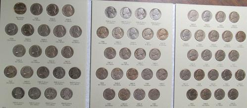 1938 - 1961 Complete Set of Jefferson Nickels, circulated, in H.E. Harris Folder