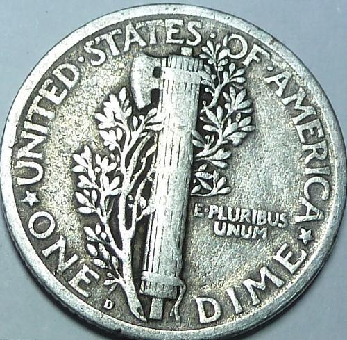 1918-D EXTRA FINE Mercury Dime XF ( W-009 )