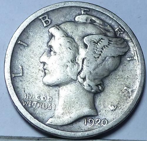1920-D Fine Mercury Dime   ( W-007)