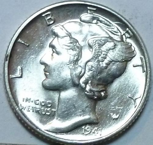 1941 P  Brilliant Uncirculated Mercury Dime  With Full Split Bands  BU ( W-061)
