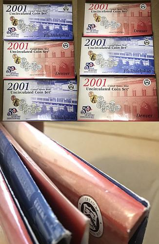 2001 U.S. UNCIRCULATED MINT SETS 60 COINS BOTH P&D OGP & COAS (6 Sets Total)