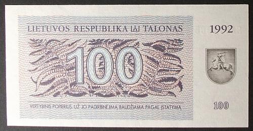 Lithuania P42 100 Talonas UNC64