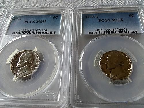 1972 & 1972 D Jefferson nickel PCGS MS65 $14.50 w/ free shipping