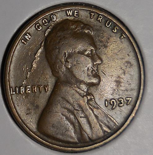 1937-P Lincoln Cent  with a Lamination Error