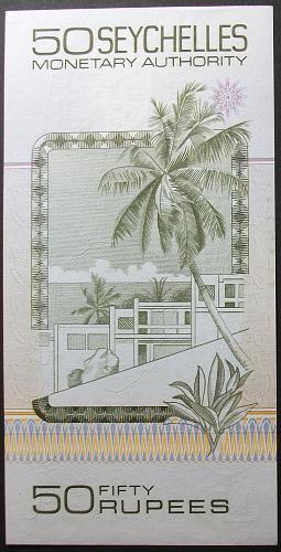 Seychelles P30a 50 Rupees AU+ Ser. # A000185
