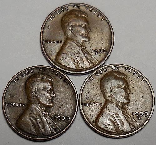3 Lincoln Wheat Cents 1936-P 1939-P 1939-S
