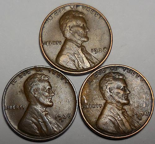 3 Lincoln Wheat Cents 1938-P 1938-D 1938-S