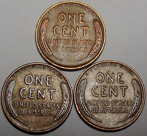 3 Lincoln Wheat Cents 1937 1938 1939