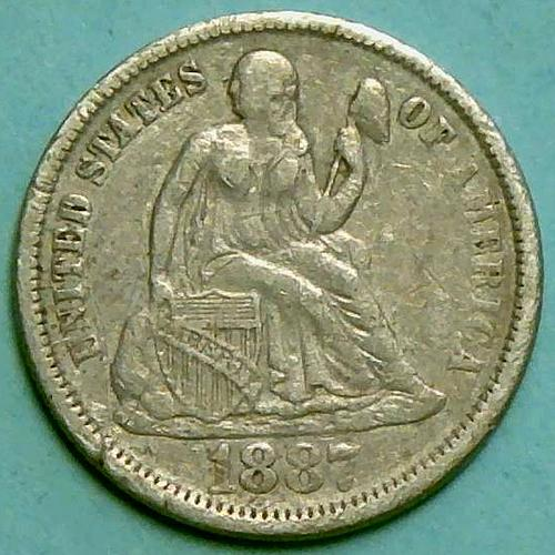 1887 P Seated Liberty Dimes Type 4 Resumed - Legend on Obverse V1P9R2