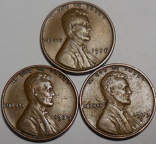 3 Lincoln Wheat Cents 1938-P 1939-P 1939-S