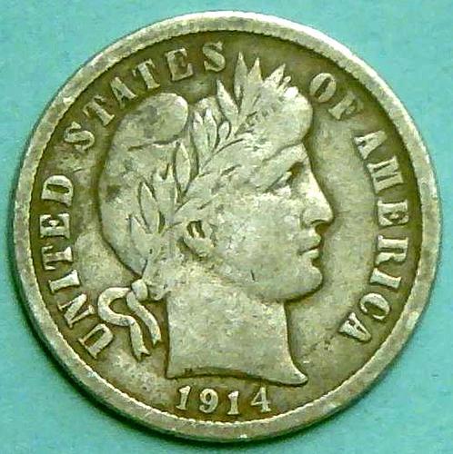1914 D Barber Dimes Early Silver Dimes. V1P9R3