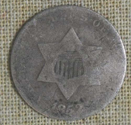 852 SILVER THREE-CENT PIECE - ABOUT GOOD DETAILS