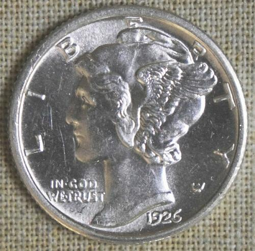 1926-P MERCURY DIME - STRUCK THROUGH - GREASE REVERSE - UNCIRCULATED DETAILS