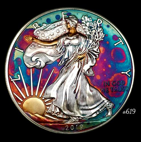 2019 Rainbow Toned Silver American Eagle 1 troy ounce silver Monster toned #a619