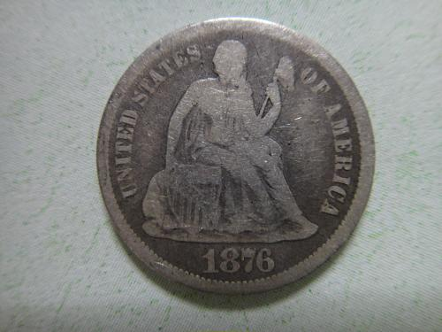 1876-CC Seated Liberty Dime Very Good-8 Neat Carson City Issue!