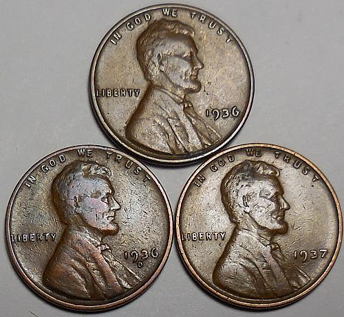 3 Lincoln Wheat Cents 1936-P 1936-D 1937-P