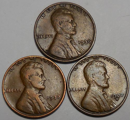 3 Lincoln Wheat Cents 1936-P 1937-P 1937-S